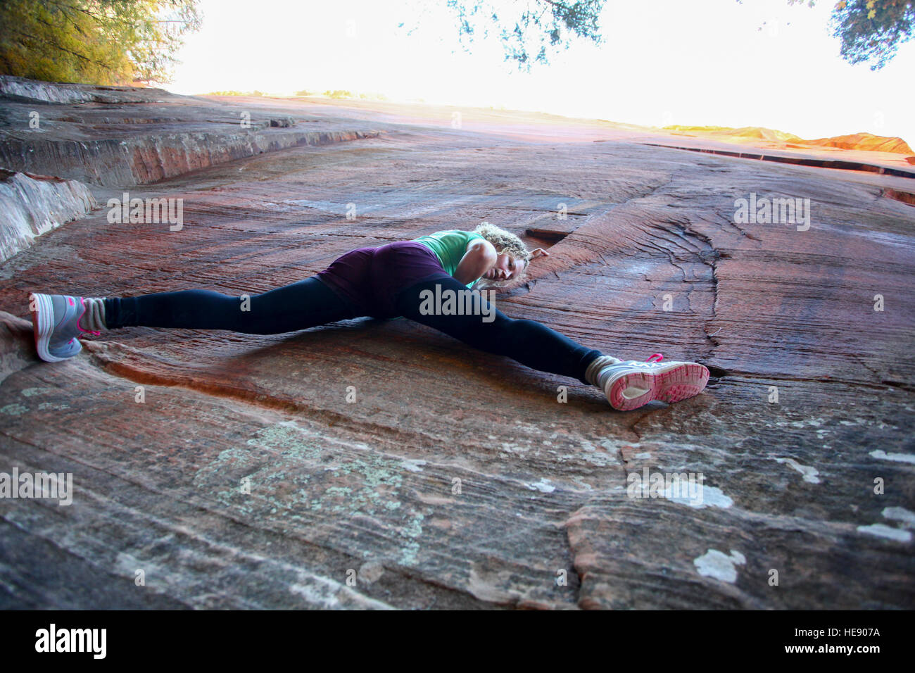 woman rock climbing at Zion National Park, Utah, USA Stock Foto