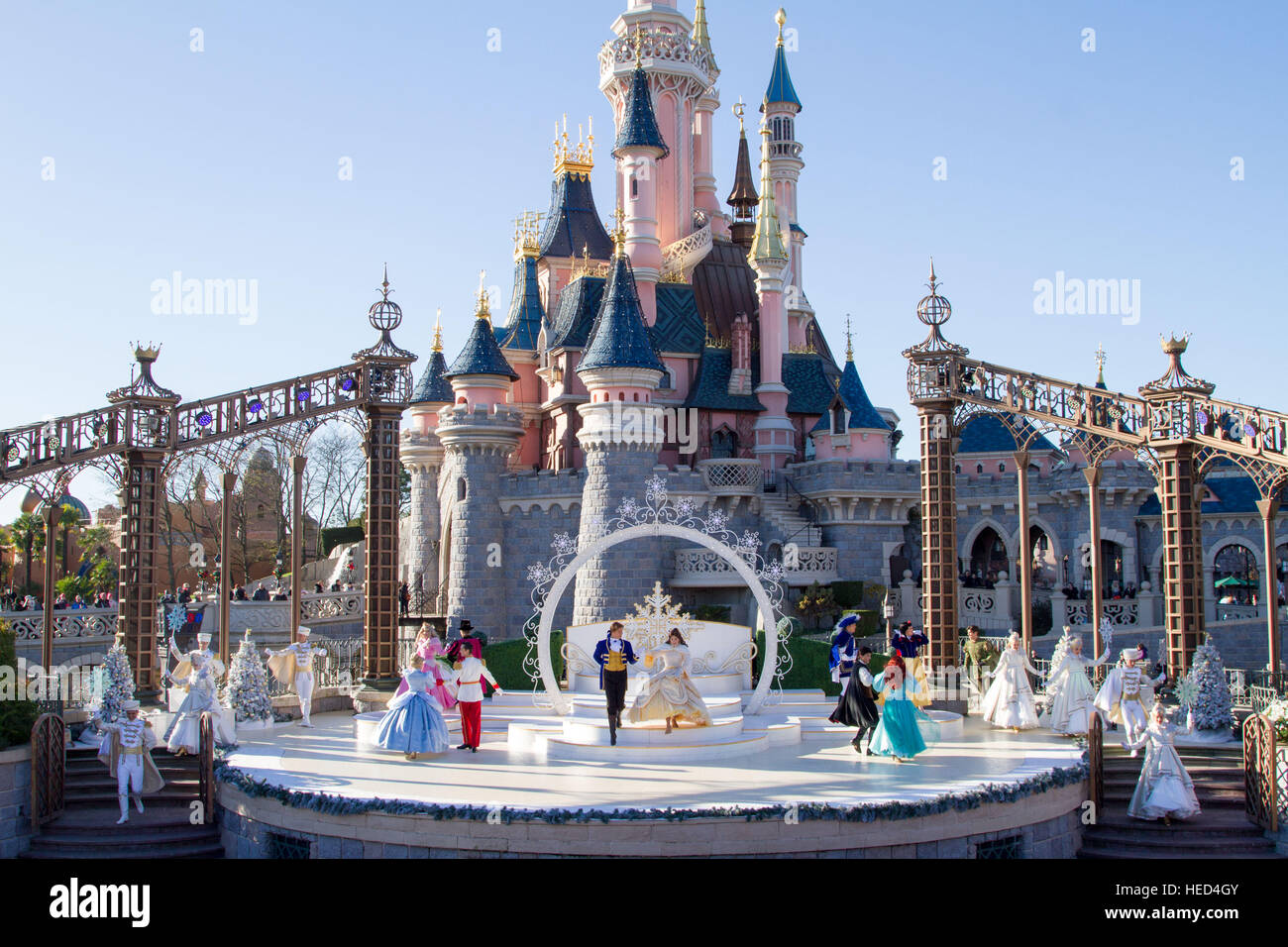 Royal Christmas wishes at Disneyland Paris Marne La Vallee France Stock Photo