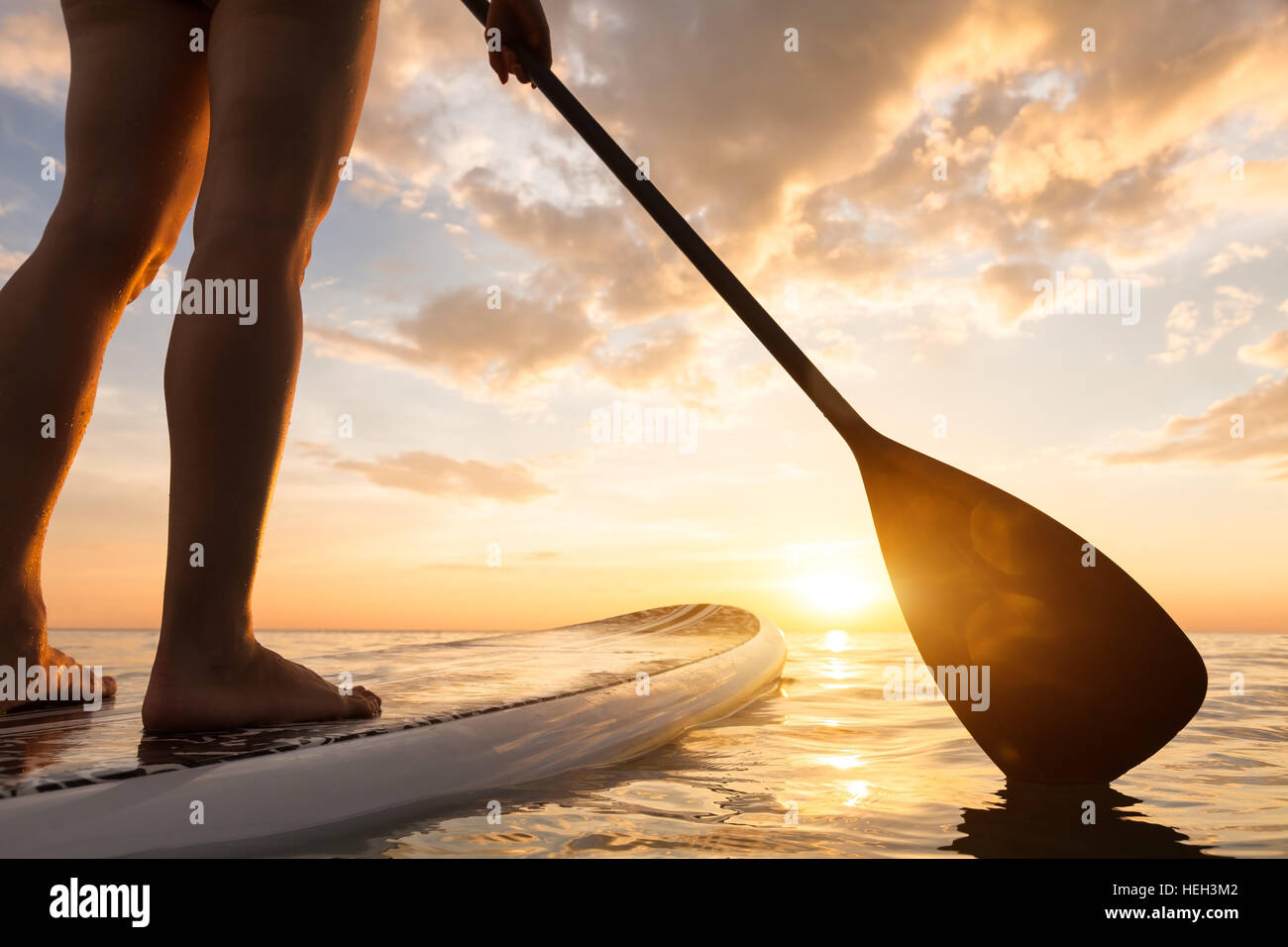 Stand up paddle boarding on a quiet sea with warm summer sunset colors, close-up of legs Stock Foto