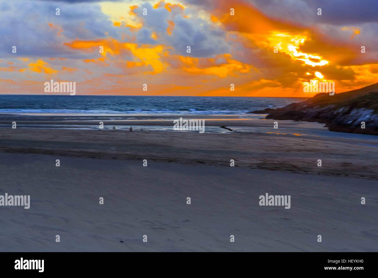 a river estuary and beach on Crantock Beach in Newquay, Cornwall, UK Stock Photo