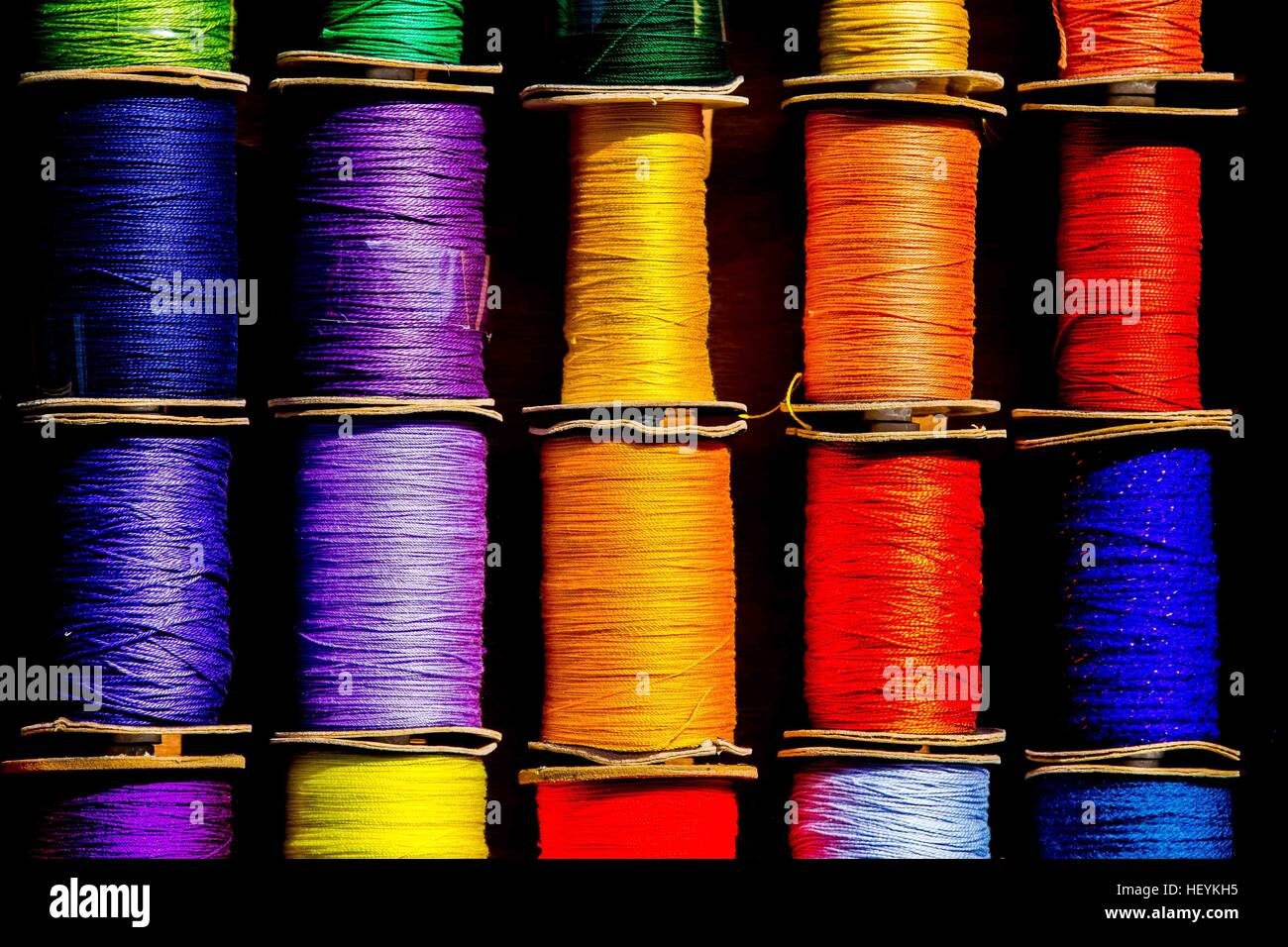a colourful show of cotton reels Stock Photo