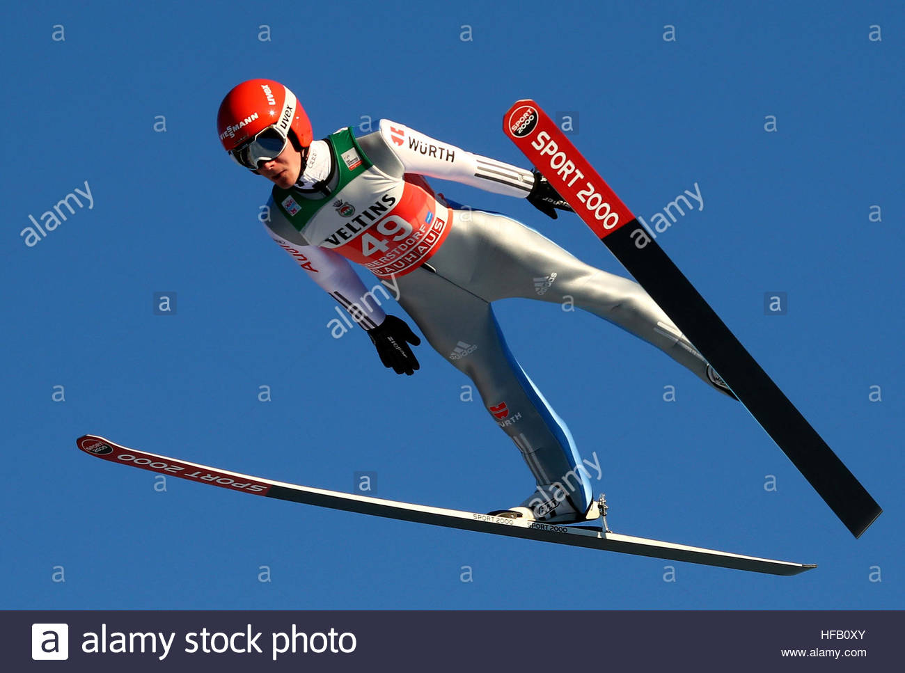 Ski Jumping - 65th four hills tournament trial round - Oberstdorf, Germany - 29/12/2016 - Germany's Stephan Leyhe Stock Foto