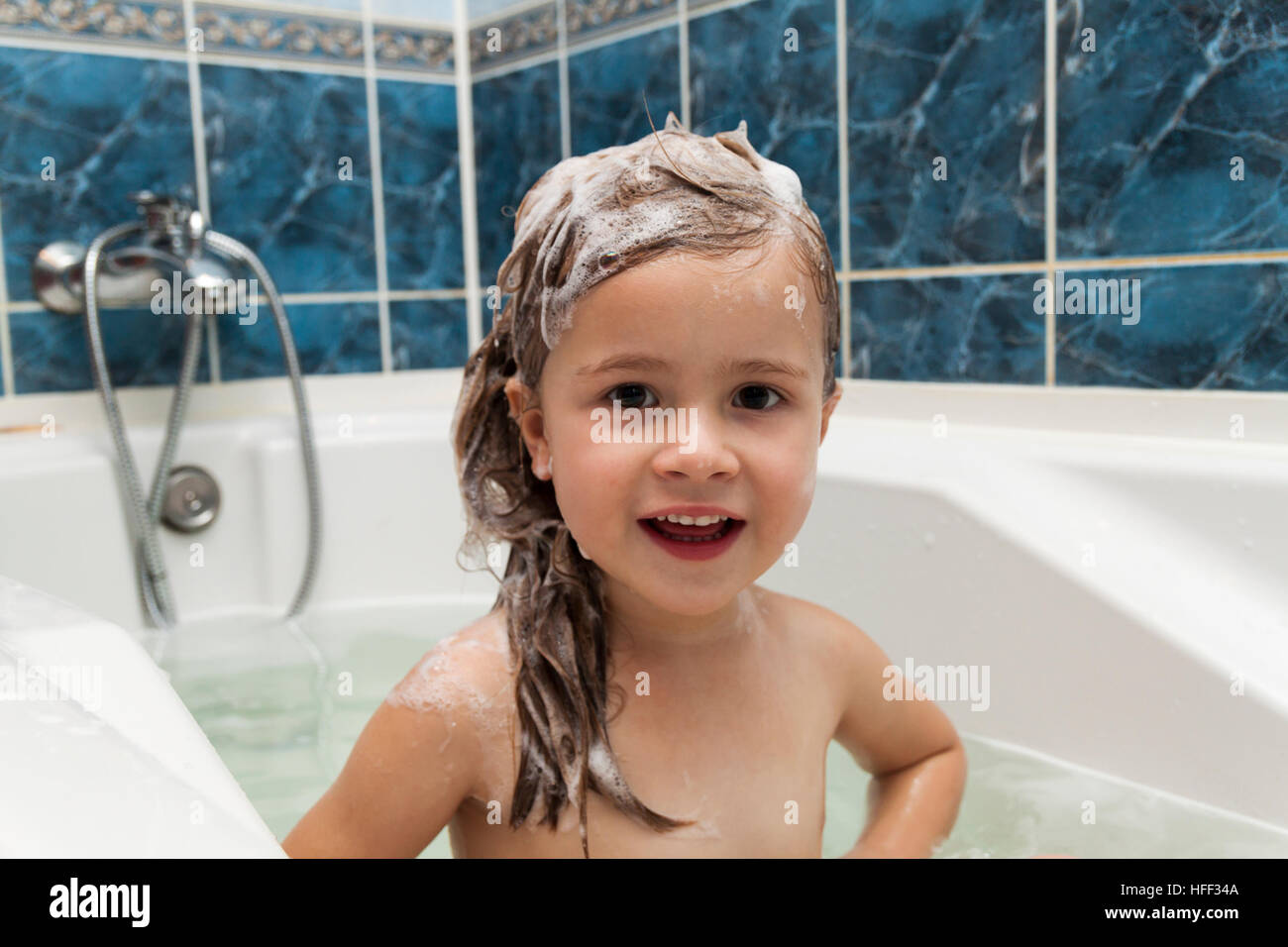 Cute Little Girl Washes Her Hair Clean Kid After Shower