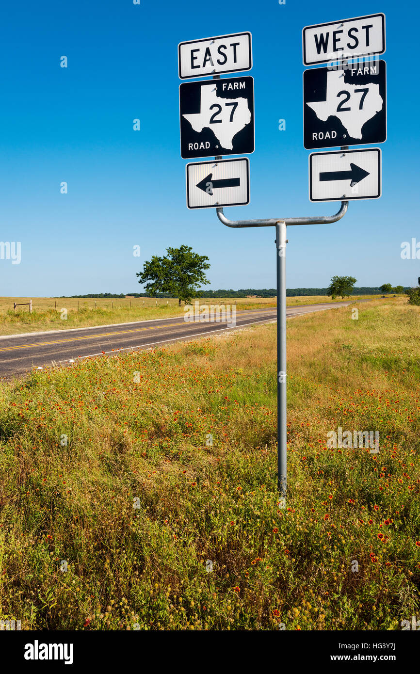Road sign in a farm road in the texas countryside in usa Usa countryside pictures