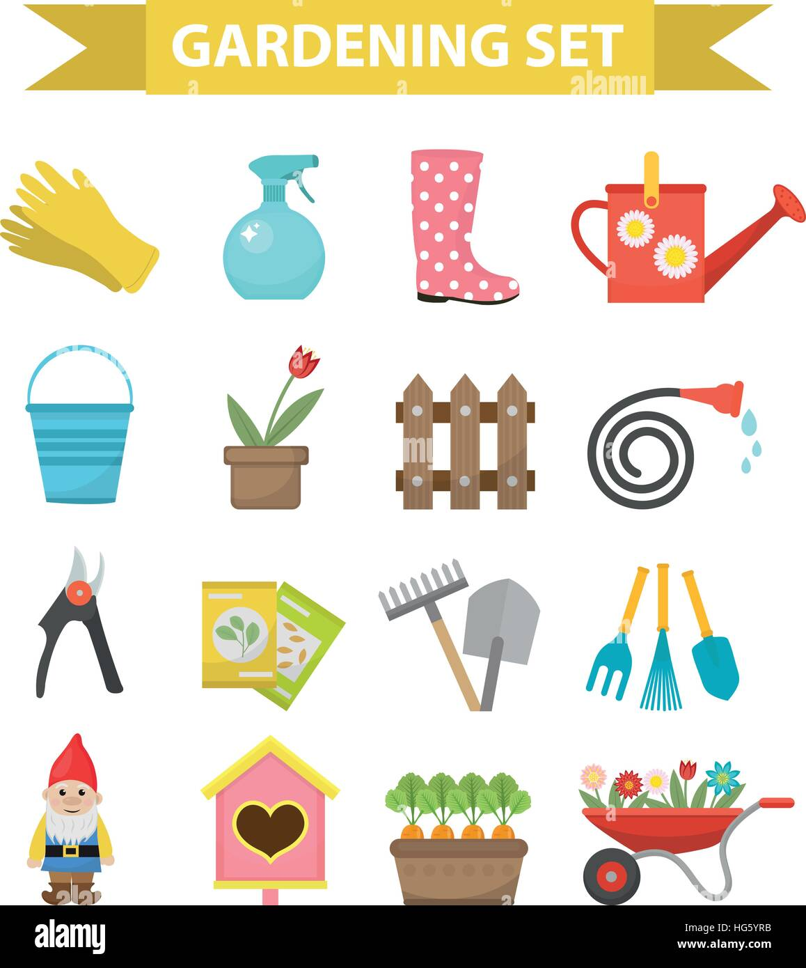 Gardening icon set flat style garden and orchard collection tools stock vector art - Must tools small garden orchard ...