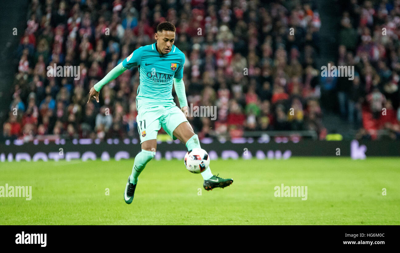 Bilbao, Spain. 5th January, 2017. Neymar Jr. (forward, Fc ...