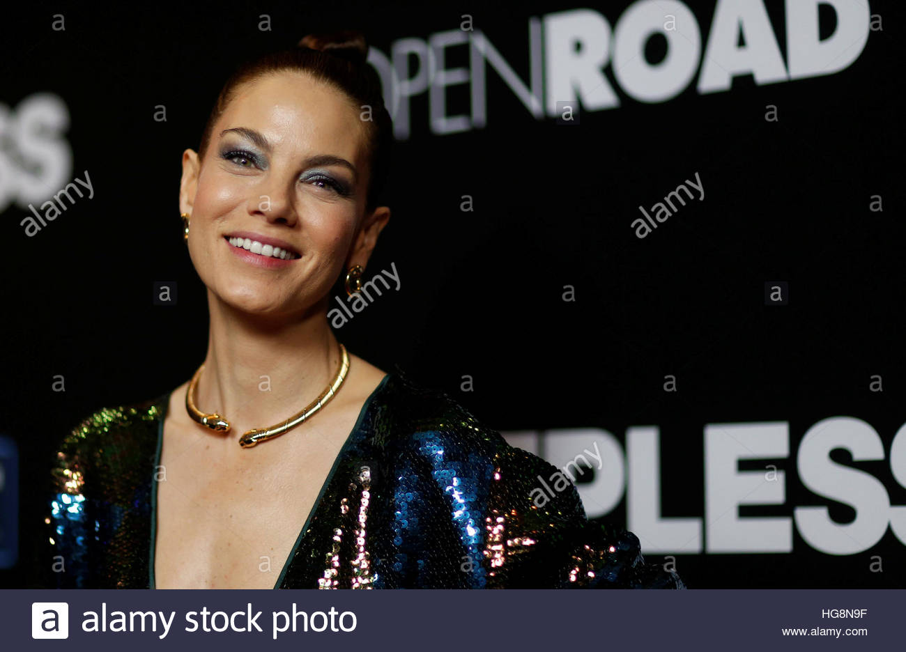 "Cast member Michelle Monaghan poses at the premiere of the movie ""Sleepless"" in Los Angeles, California U.S., January Stock Photo"
