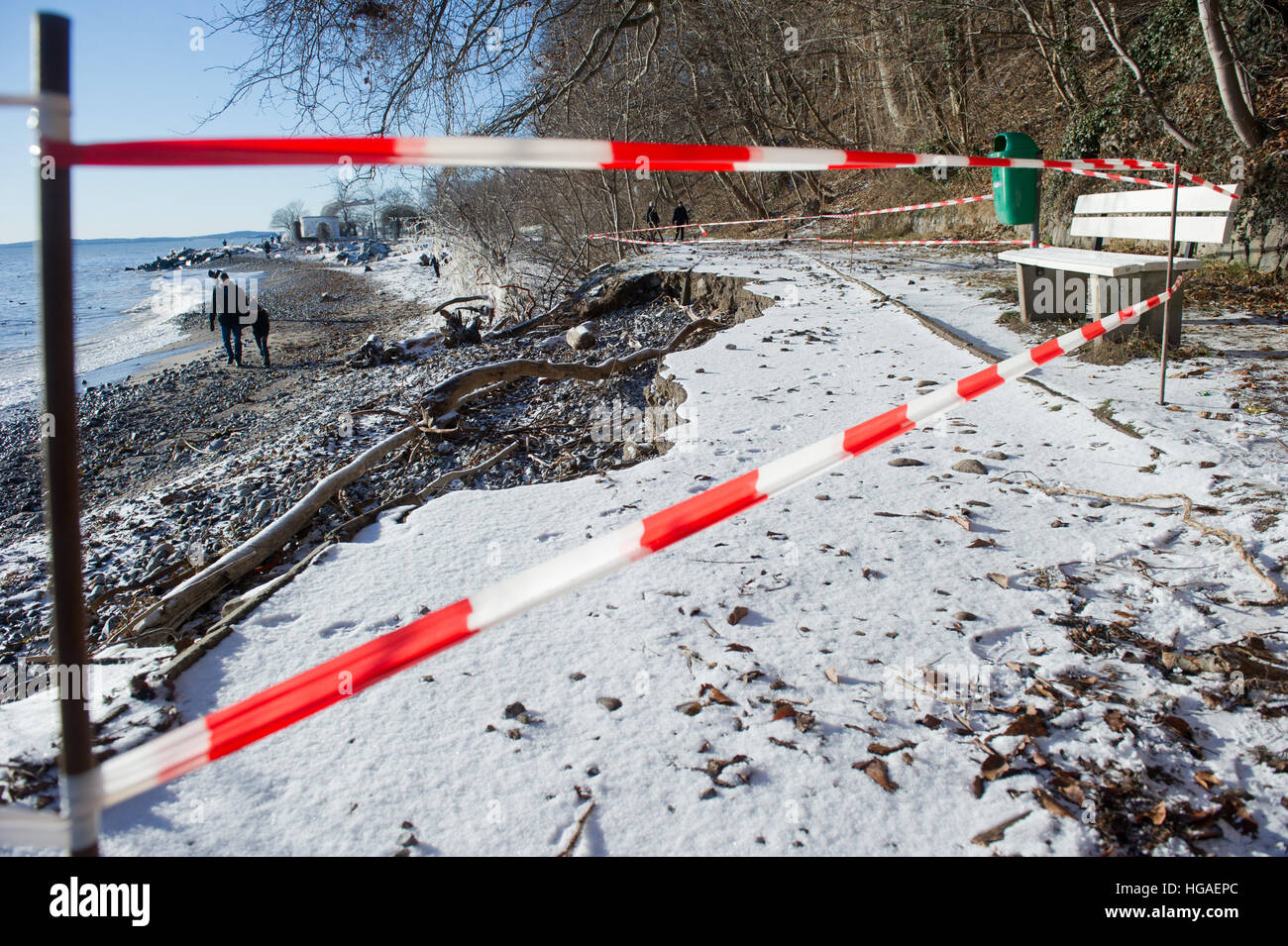 Sassnitz, Germany. 06th Jan, 2017. A collapsed path in Sassnitz, Germany, 06 January 2017. The aftermath of the Stock Photo