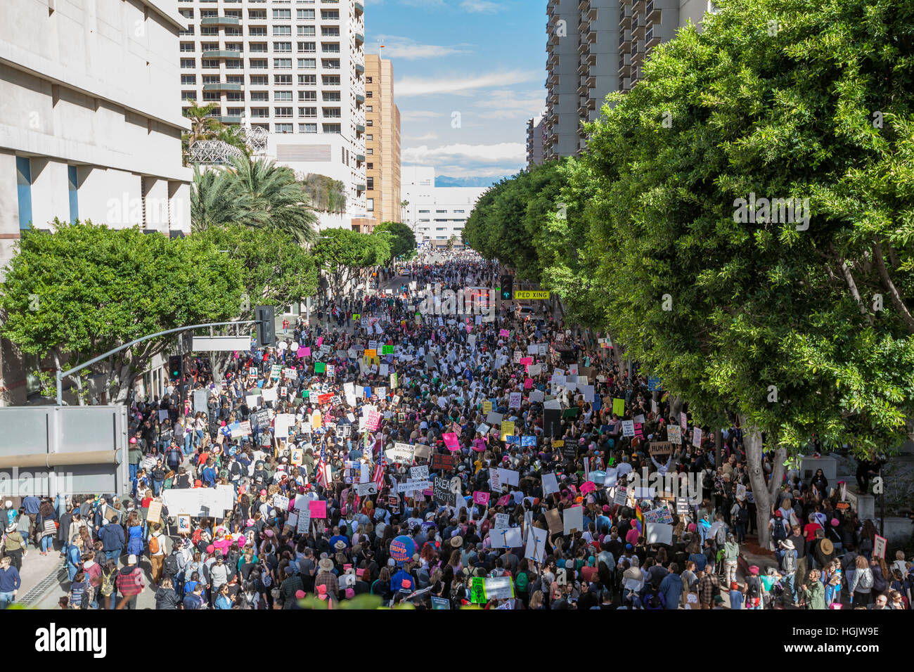 Los Angeles, USA. 21st Jan, 2017. 5th St at Olive, Women's March in Los Angeles. Credit: Kayte Deioma/Alamy Live Stock Foto