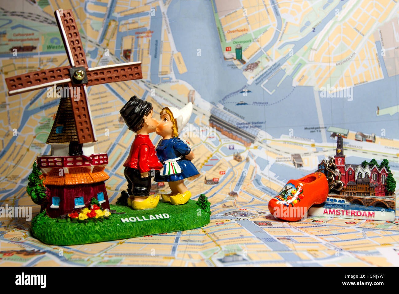 Holland Souvenir With Amsterdam Maps In Background Dutch Windmill Stock Photo Royalty Free