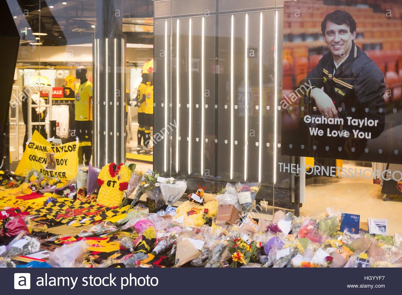 Watford, Hertfordshire, UK. 14th Jan, 2017. Watford Fans pay tribute to Graham Taylor at Vicarage Road by laying Stock Foto