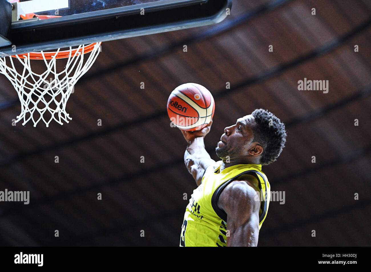 Tokyo, Japan. 15th Jan, 2017. Ira Brown (Sunrockers) during the B League All Star Game 2017 Dunk contest at 1st Stock Foto