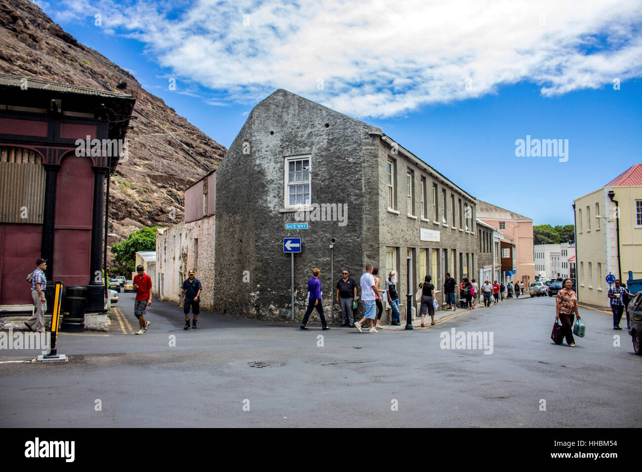St Helena Island early evening in Jamestown Streets. Stock Photo