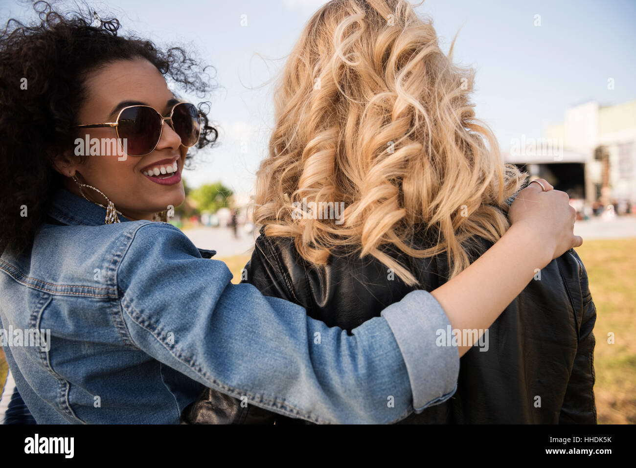Two friends starting their best party Stock Photo