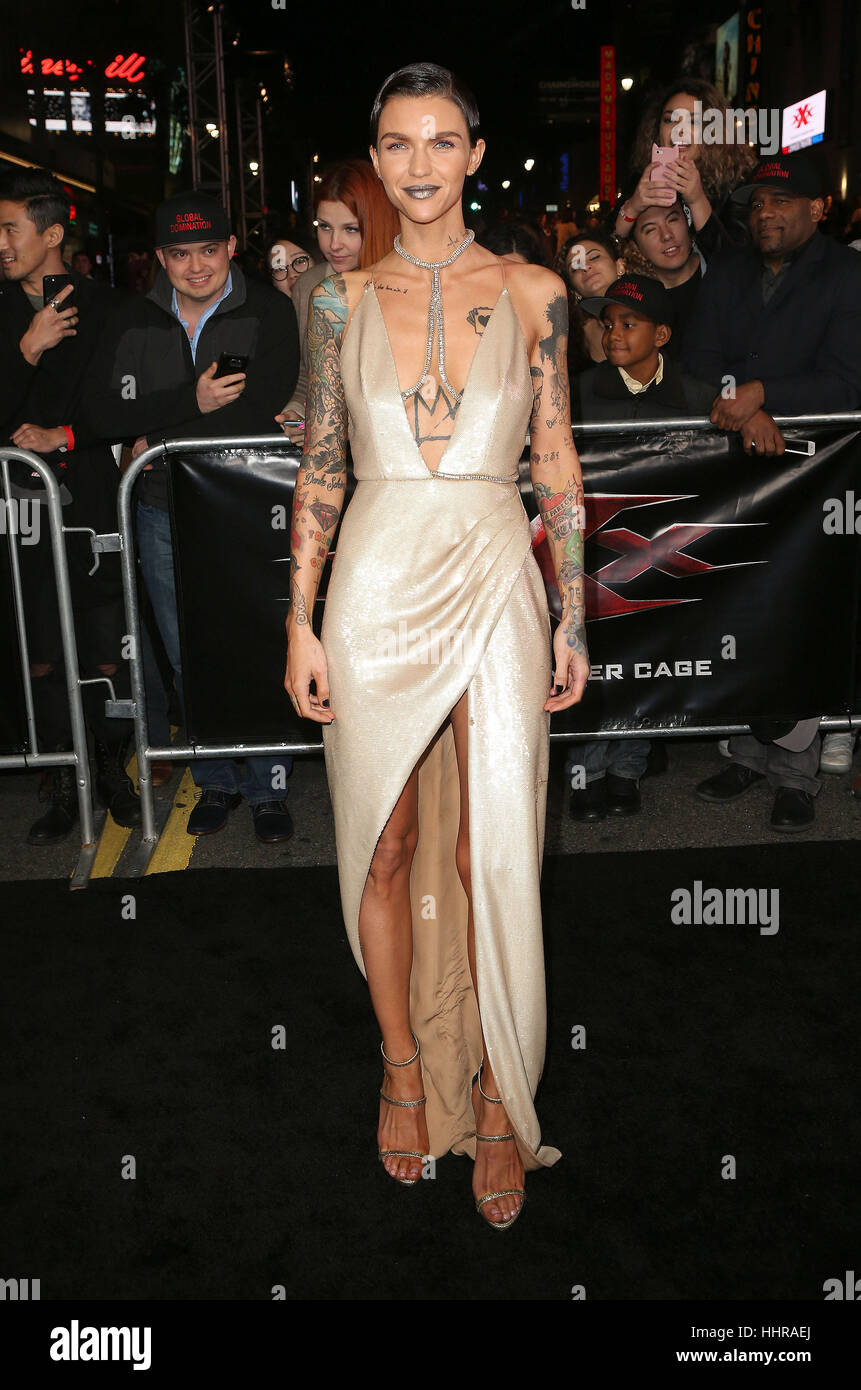 Hollywood, USA. 19th Jan, 2017. Ruby Rose seen attending the 'xXx: Return Of Xander Cage' Los Angeles premiere held Stock Foto