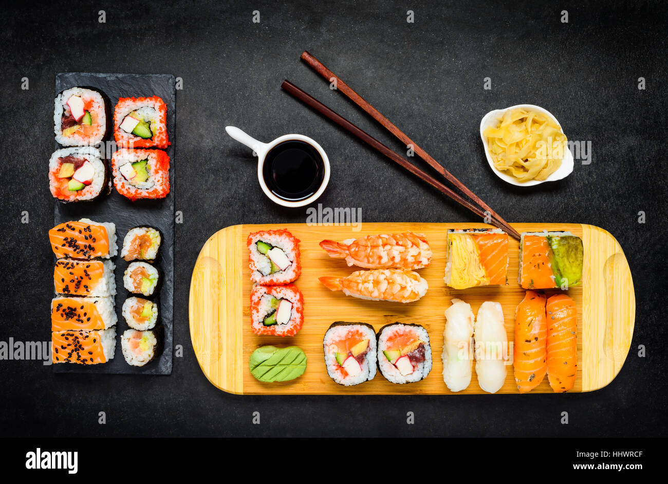 sashimi and different sushi types with soy sauce and tsukemono stock photo 131488911 alamy. Black Bedroom Furniture Sets. Home Design Ideas