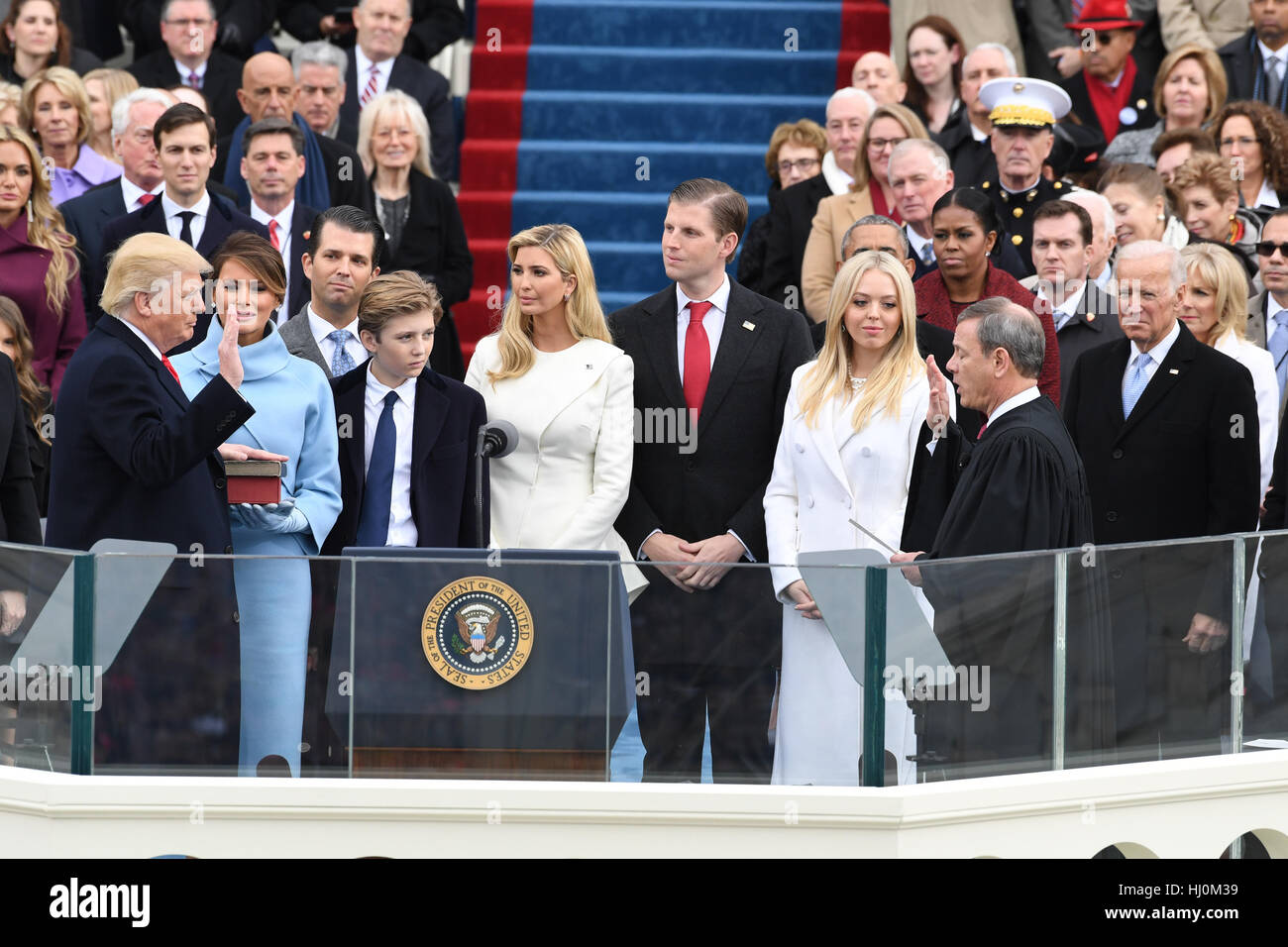President Donald J. Trump takes the Oath of Office from Chief Justice John Roberts at his inauguration on January Stock Foto