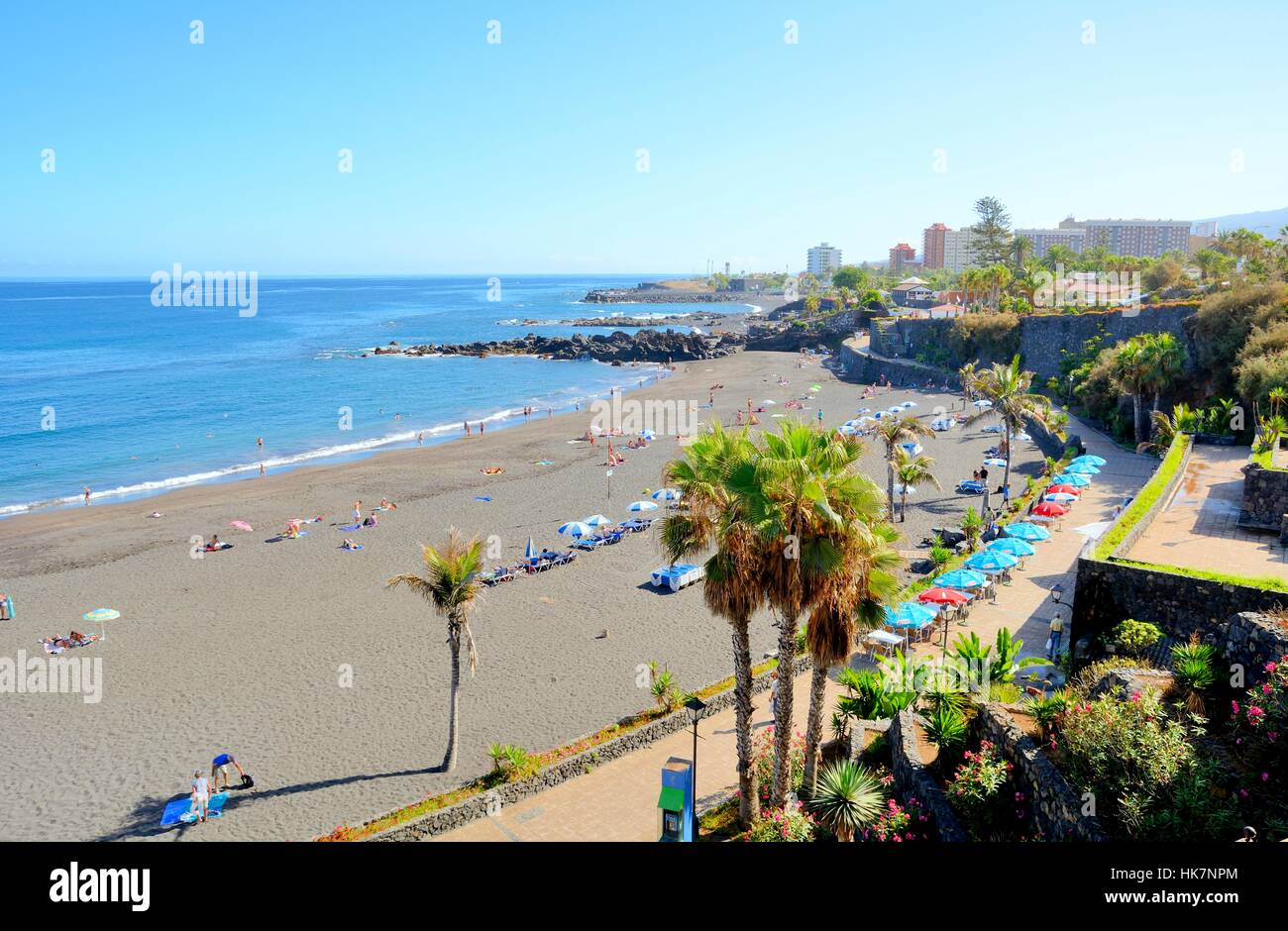 playa jardin beach at puerto de la cruz on tenerife stock