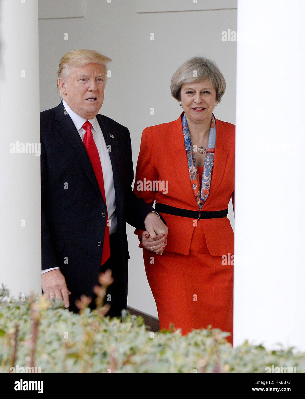 Washington DC, USA. 27th January 2017. United States President Donald Trump and Prime Minister Theresa May of the Stock Foto