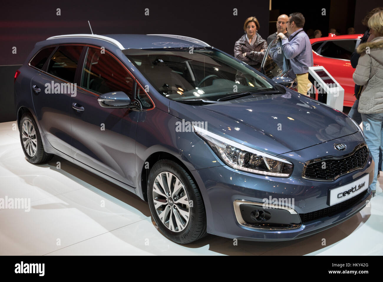 brussels jan 19 2017 kia cee 39 d sportswagon on display at the stock photo royalty free image. Black Bedroom Furniture Sets. Home Design Ideas