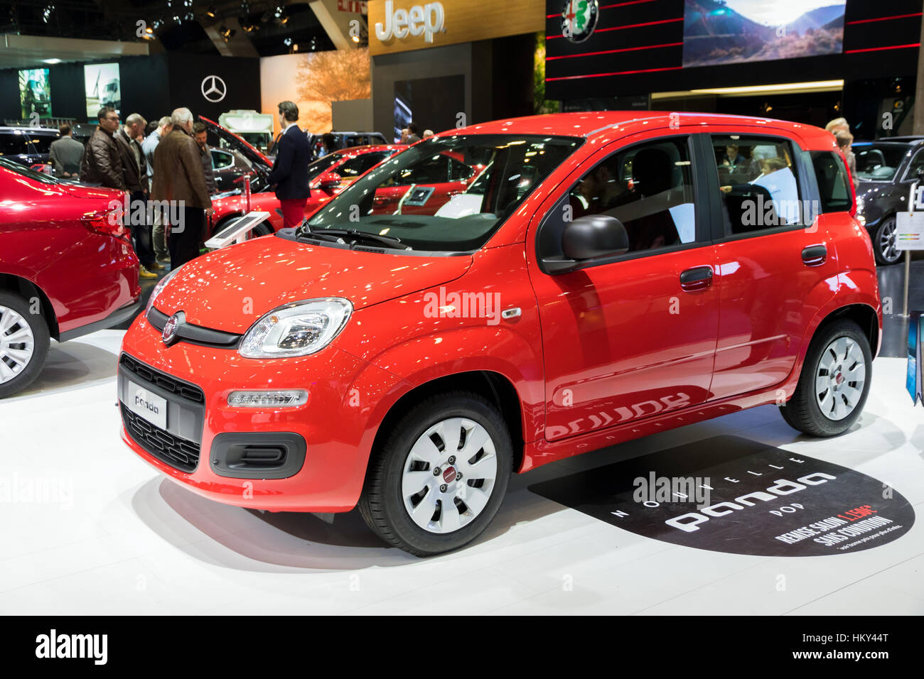 brussels jan 19 2017 new fiat panda pop on display at the motor stock photo royalty free. Black Bedroom Furniture Sets. Home Design Ideas