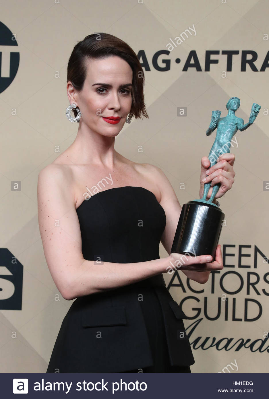 Los Angeles CA - JANUARY 29 Sarah Paulson, At 23rd Annual Screen Actors Guild Awards - Press Room, At Shrine Auditorium Stock Foto