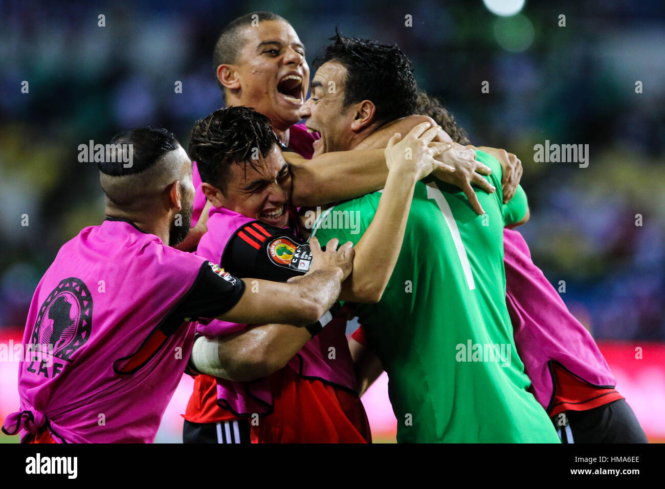 Libreville, Gabon. 1st Feb, 2017. Players of Egypt celebrate after winning a semifinal match of 2017 Africa Cup Stock Foto