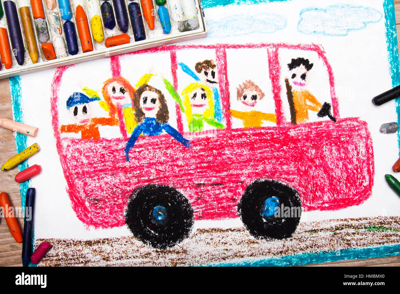 Colorful Drawing Red School Bus With Happy Children