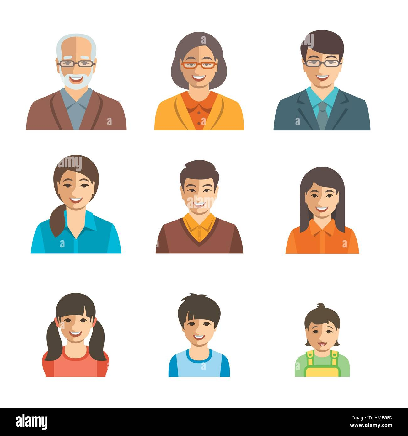 Asian family happy faces. Vector flat avatars. People ...