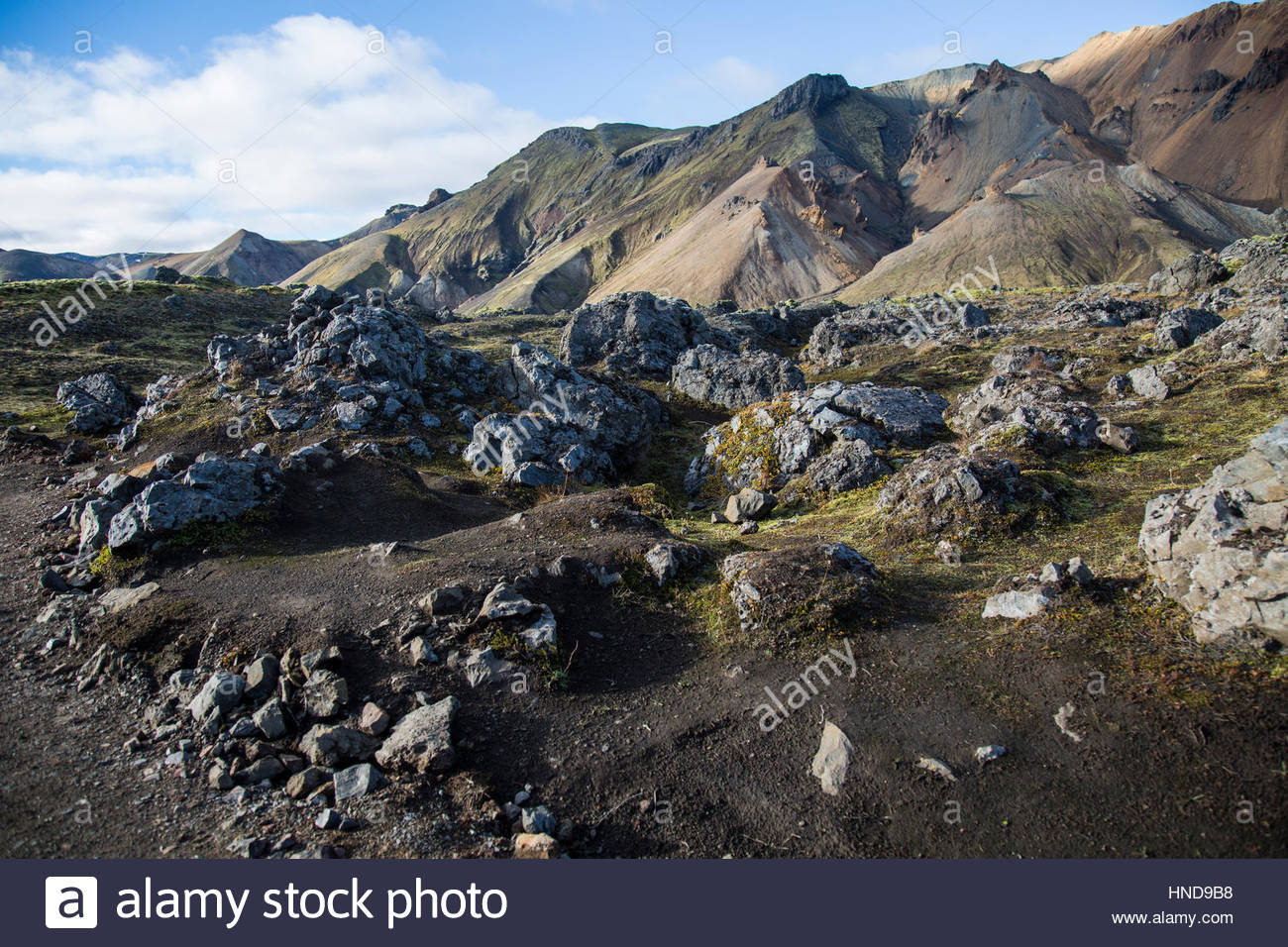 Volcanic Landscape Blue Sky Stock Photo