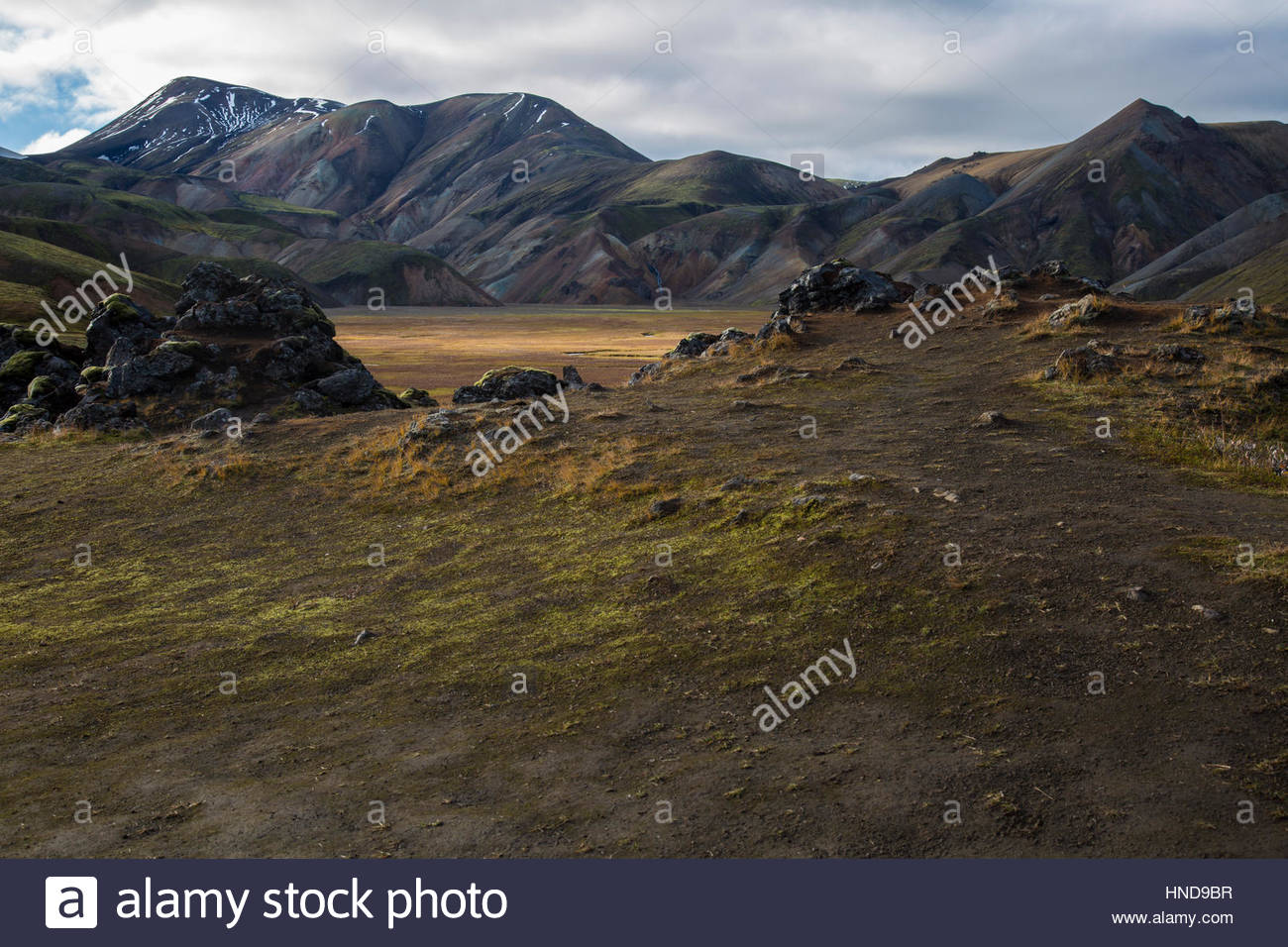 Iceland, Highlands Lava Field Daylight Stock Photo