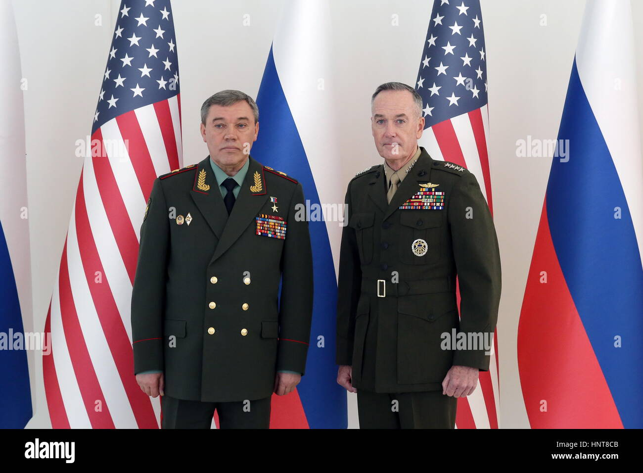 Baku, Azerbaijan. 16th Feb, 2017. Army General Valery Gerasimov (L), chief of the General Staff of the Armed Forces Stock Photo