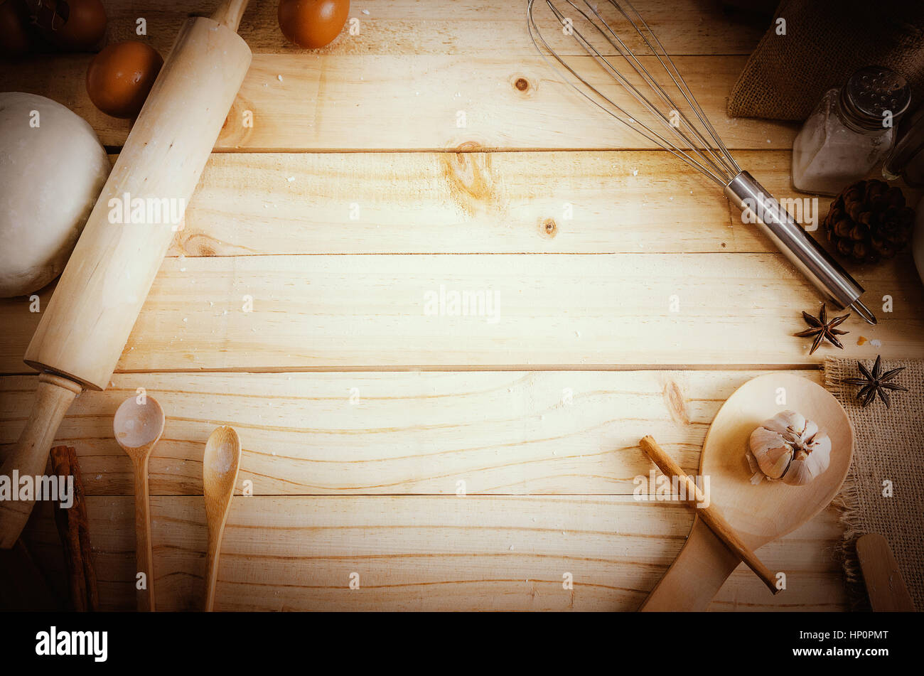 blank wooden table background and bakery ingredients with