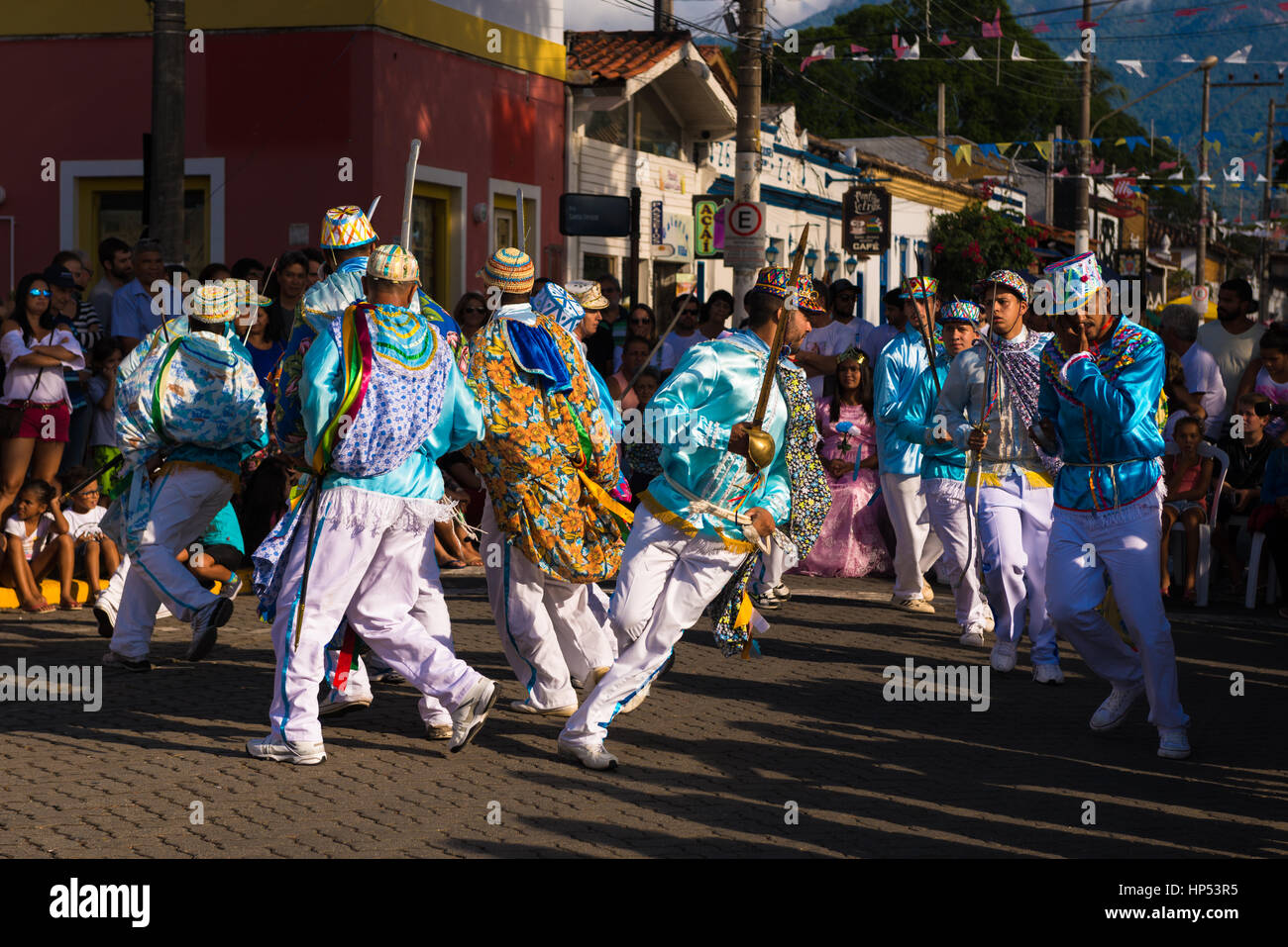 Performers at the Congada festivity in Ilhabela, SE Brazil Stock Photo