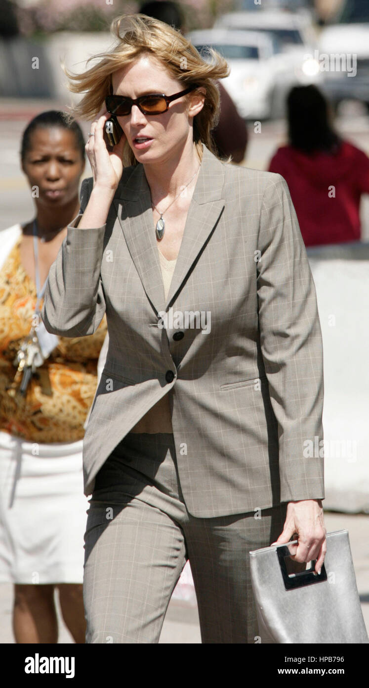 Erin Finn, a witness in the Anthony Pellicano trial, leaves Federal Court in Los Angeles, CA on Tuesday,  March Stock Photo