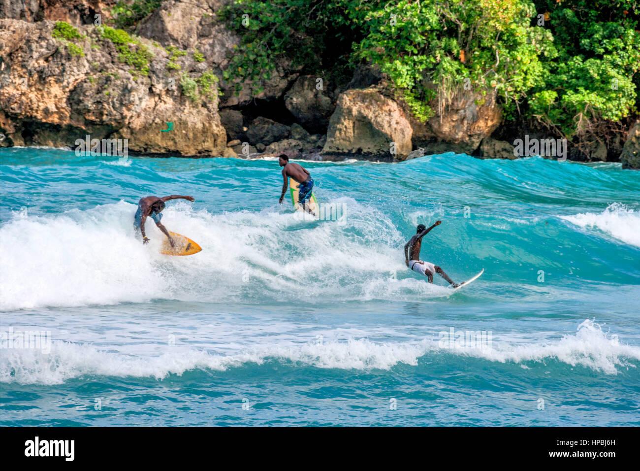 Surfer, Boston bay, watersports, waves, surfing, Jamaica, Jamaika Stock Photo