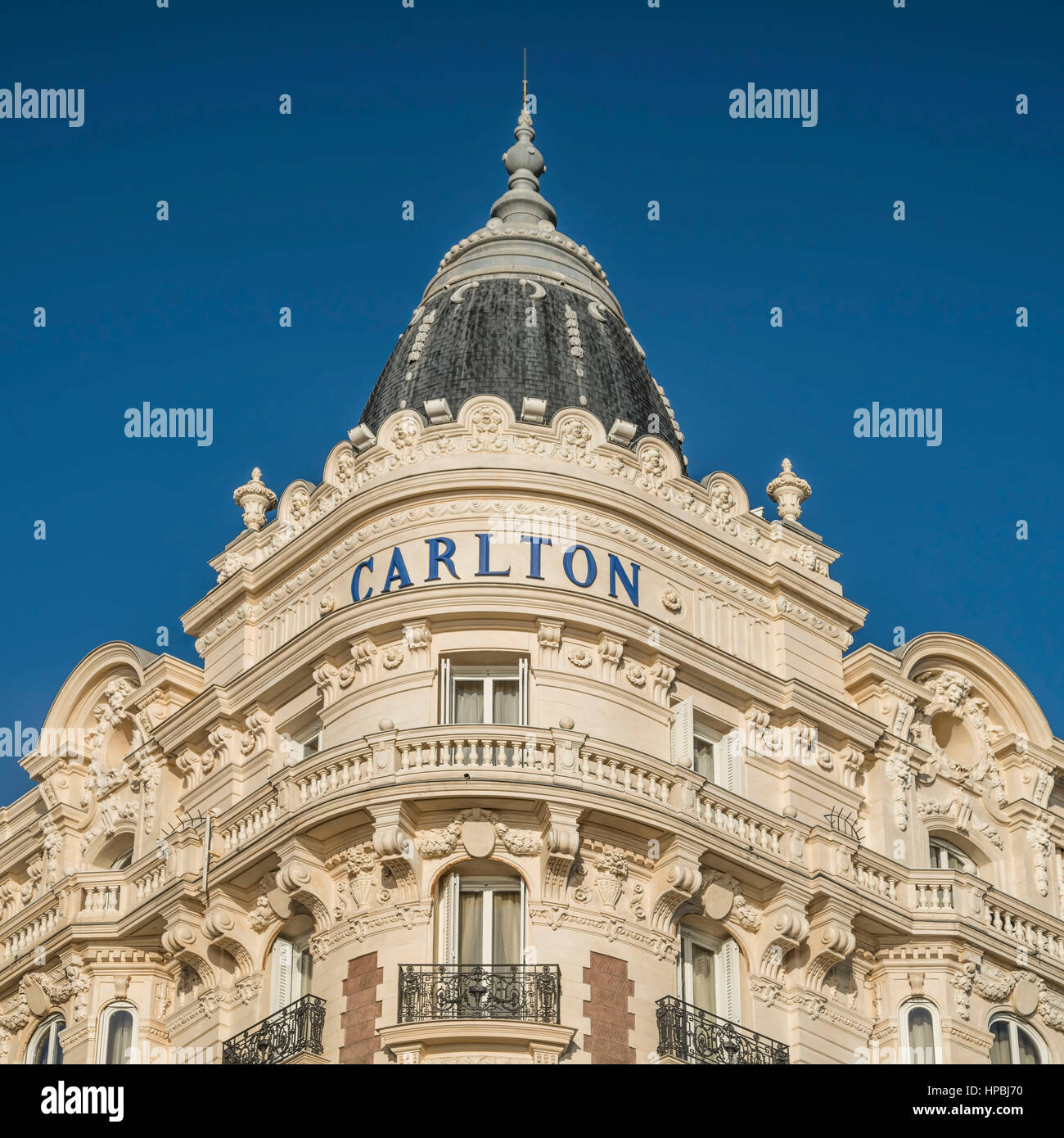 Carlton, Hotel, Facade, Croisette,  Cannes, Cote d Azur, France, Stock Photo