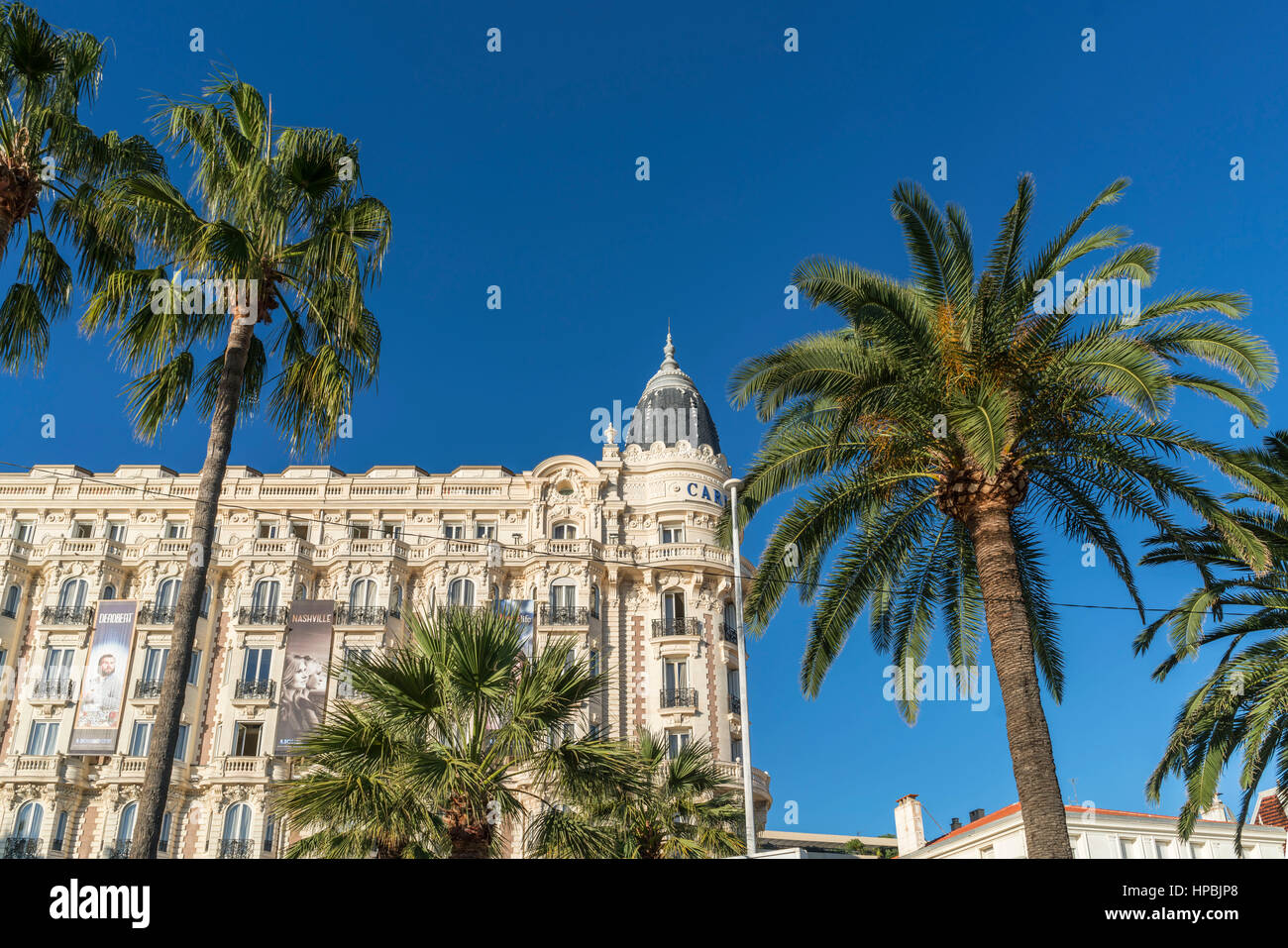 Carlton, Hotel, Facade, Promenade de Coisette,  Palm tree, Cannes, Cote d'Azur, France, Stock Photo
