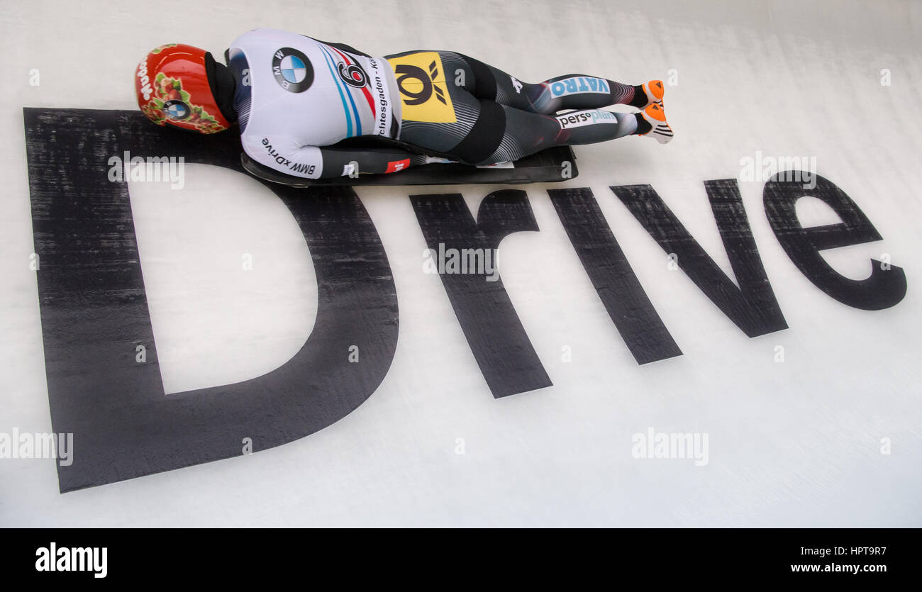 Koenigssee, Germany. 24th Feb, 2017. German athlete Jacqueline Loelling in action at the IBSF Bobsleigh and Skeleton Stock Foto