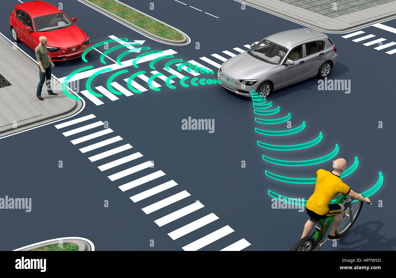 self driving electronic computer cars on road, 3d illustration Stock Photo