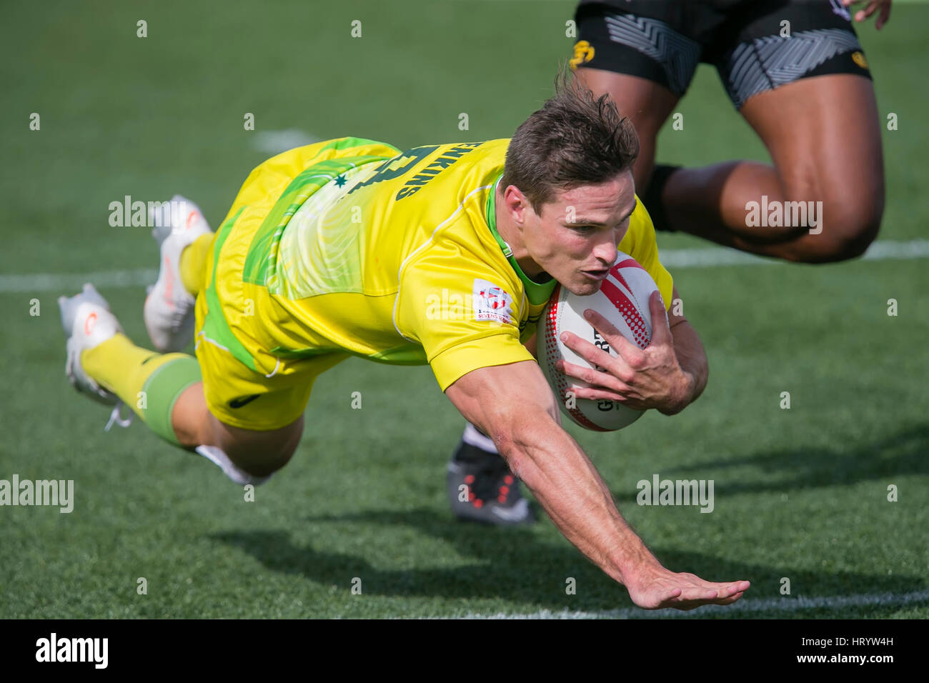 Las Vegas, NV, USA. 4th Mar, 2017. Ed Jenkins #9 of Australia dives in for a score during Pool D play of the rugby Stock Foto