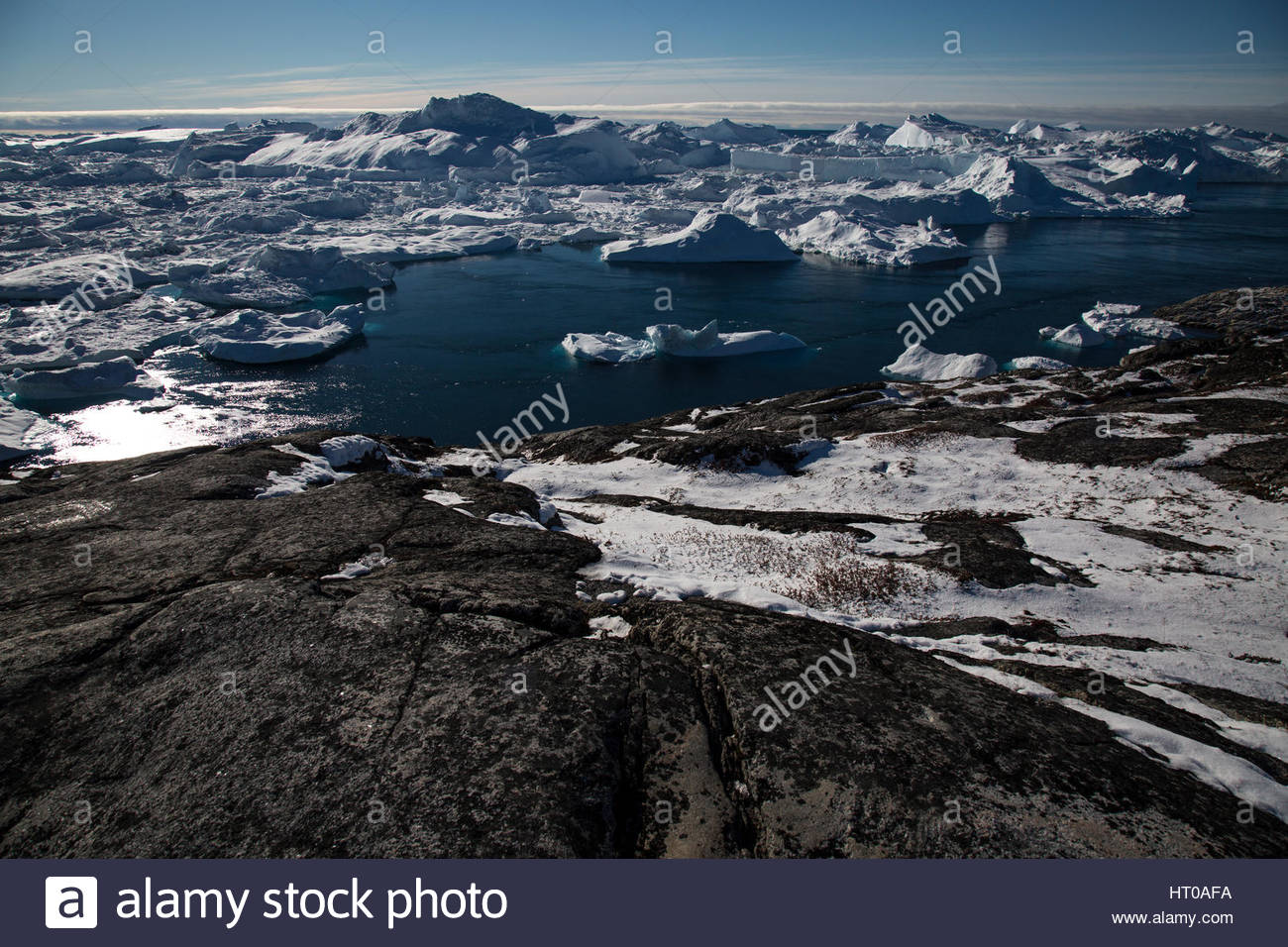 Jakobshavn Glacier Clear Sky Stock Photo