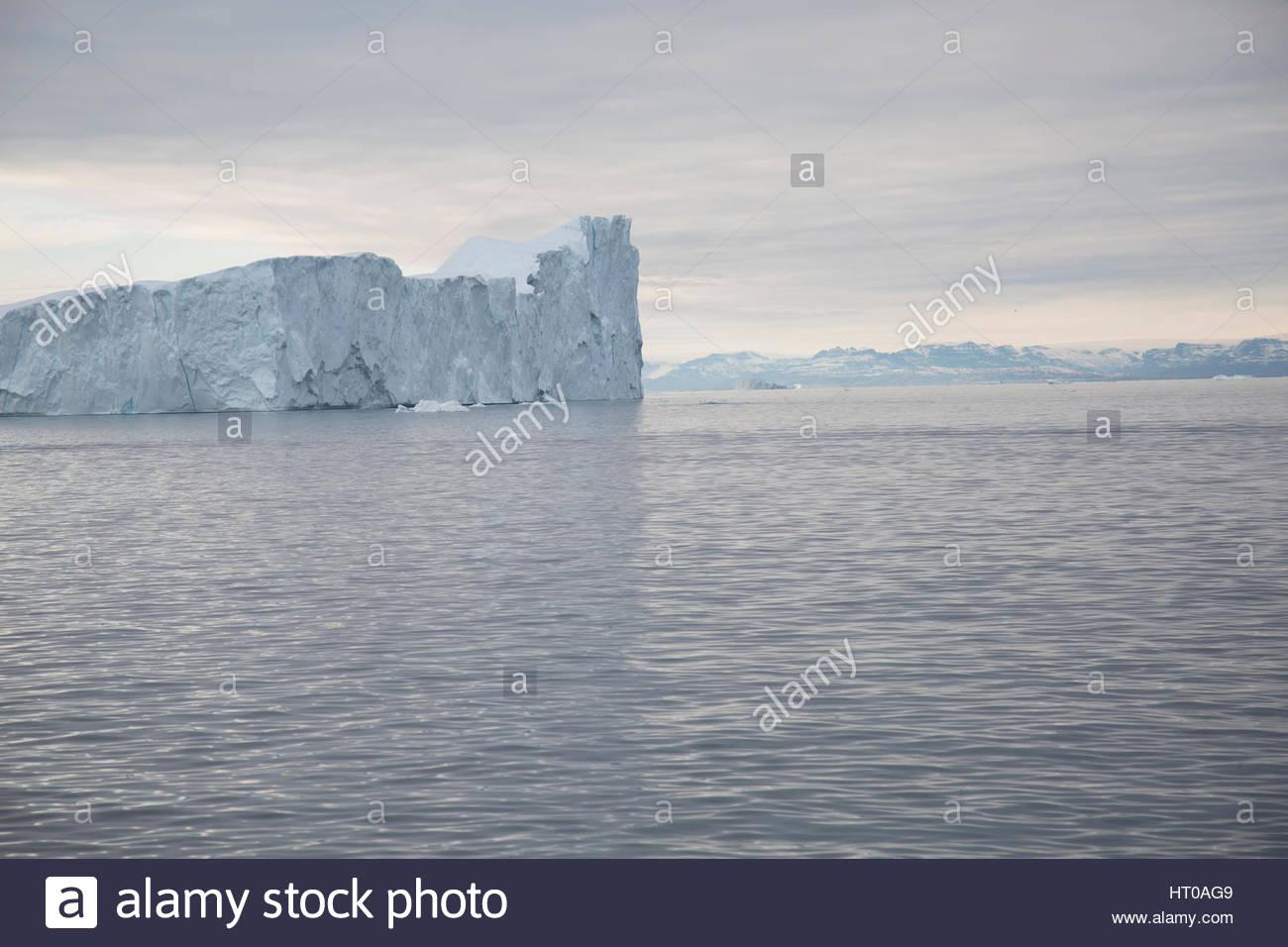 Sea of Iceberg Greenland Overcast Distant Disko Bay Stock Photo