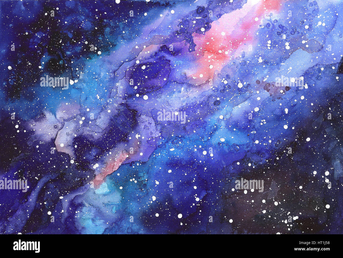 Space abstract hand painted watercolor background. Texture ...