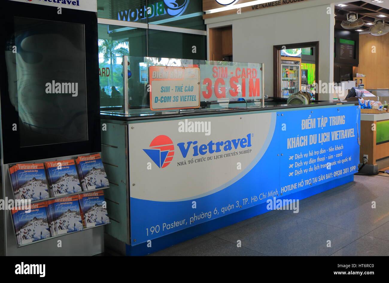 Stock Photo - Vietravel travel agency at Ho chi Minh City International airport in Ho Chi Minh City Vietnam