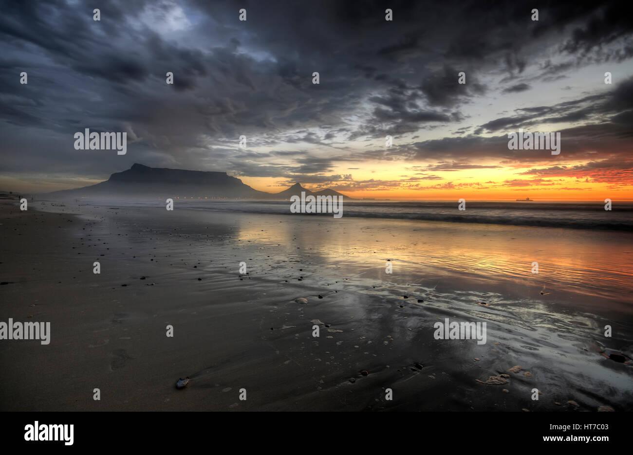 Table Mountain Sunset Beach Stock Photo