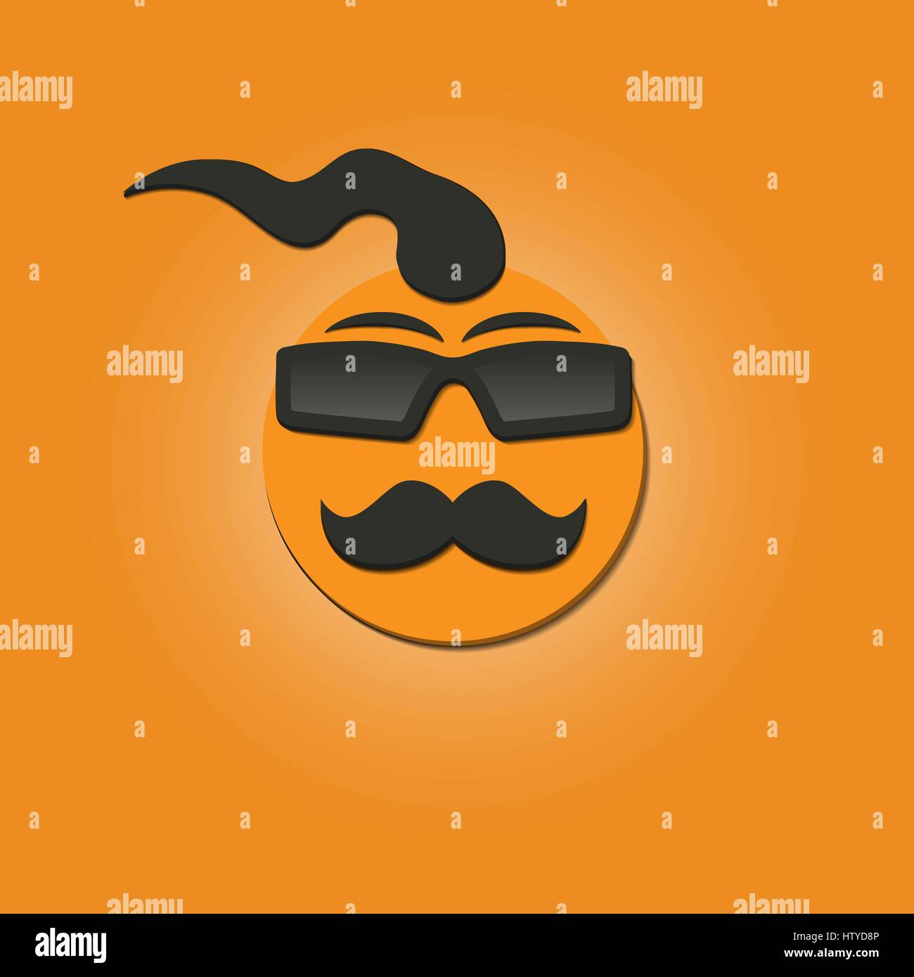 Funny face with a mustache and sunglasses on yellow ...