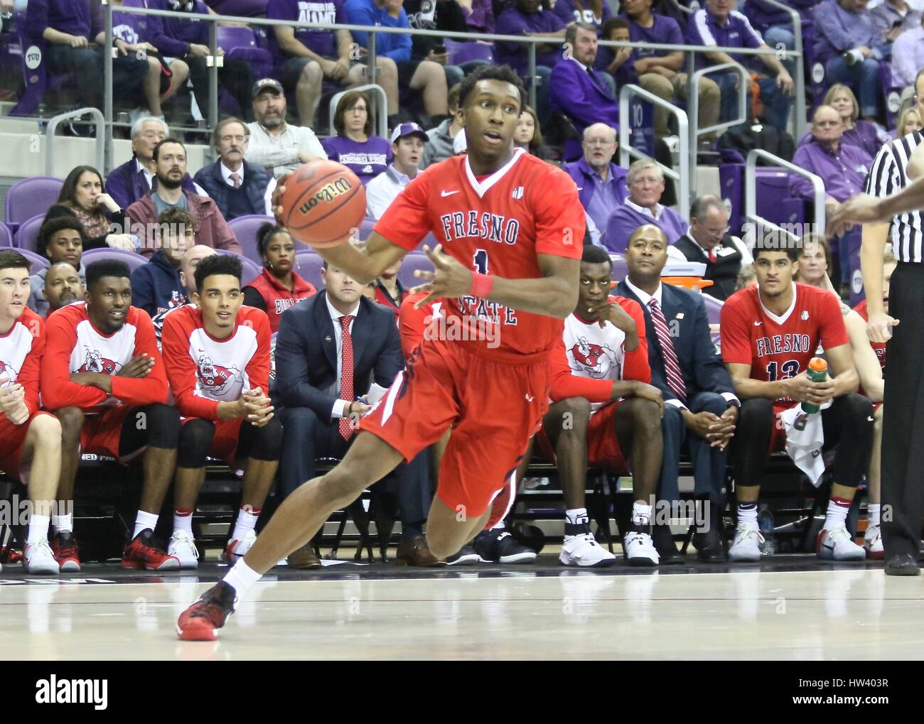 Fort Worth Texas, USA. 15th Mar, 2017. NIT basketball, tournament, NCAA, First Round, Bulldog guard Jaron Hopkins Stock Photo