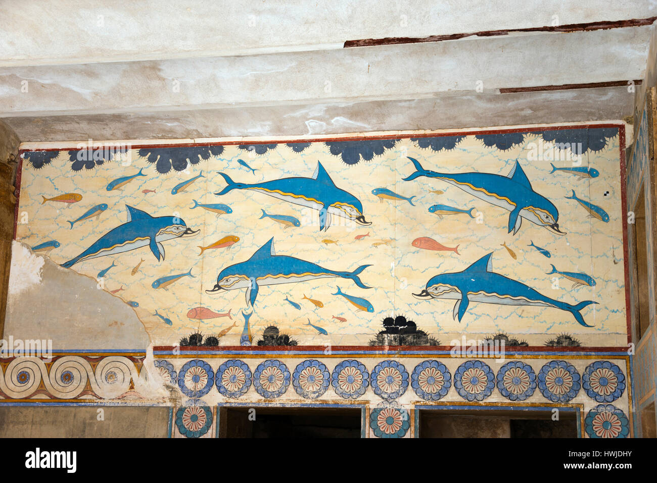 Frescoes dolphins wall painting palace of the minoans for Dolphin mural knossos