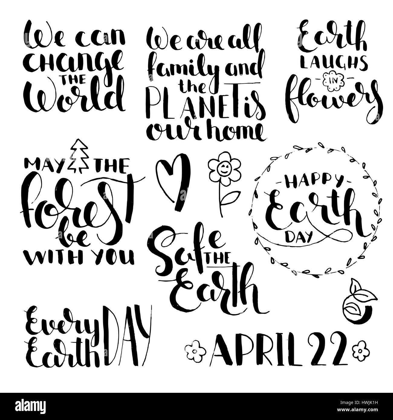 Phrases about earth day handwritten lettering set modern